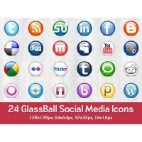 24 Glossy Social Media Icons