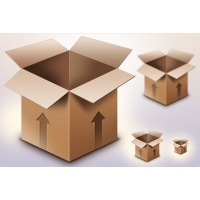 Cardboard Box PSD & Icon