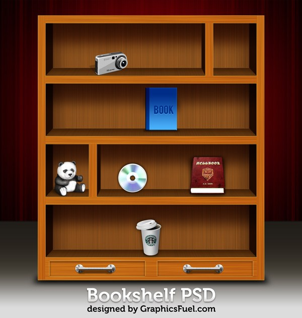 Wooden Bookshelf PSD & Icons