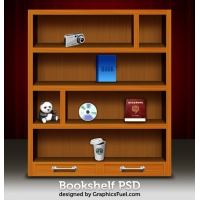 Wooden Bookshelf PSD & Icons