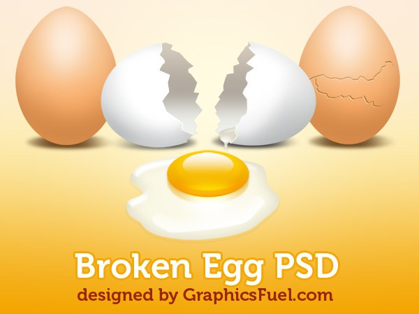 Broken Egg With Yolk PSD