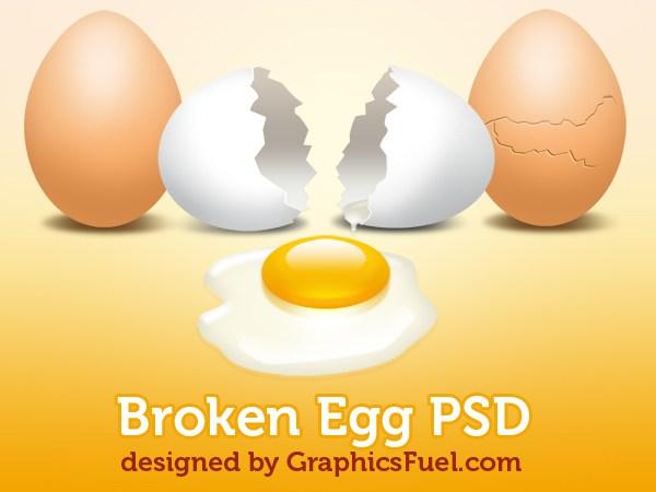 Broken Egg With Yolk PSD