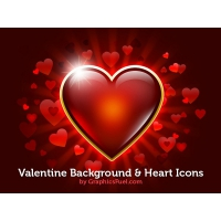 Valentine Background & Heart Icons