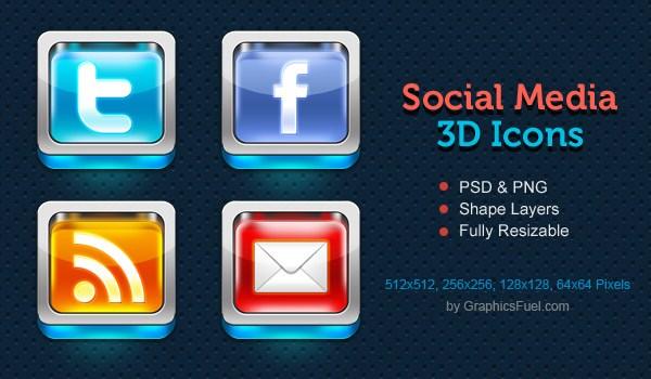 Shiny 3D Social Media Icons