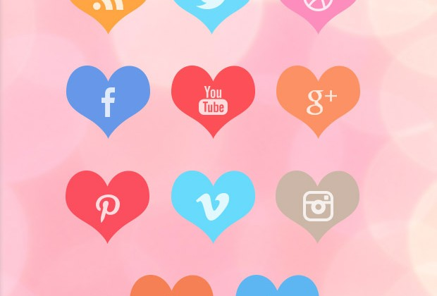 Beautiful Free Heart Social Media Icon Set
