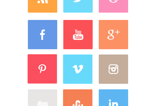 A Free Clean Flat Squared Social Icon Set