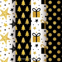 Collection Of Black And Golden Christmas Patterns