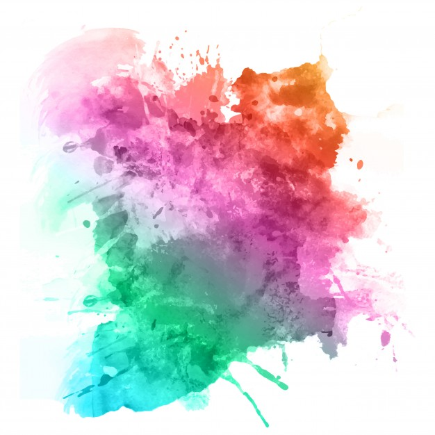Watercolour Splatter In Rainbow Colours
