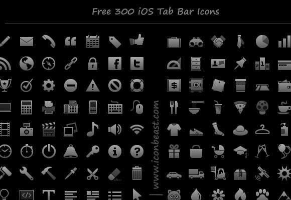 300 Free PNG Icons And Symbols For iPhone And IPad Apps