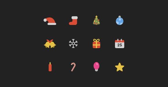 Coloured PSD Christmas Icons