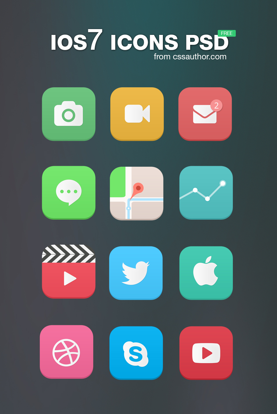 Free iOS7 Icons PSD