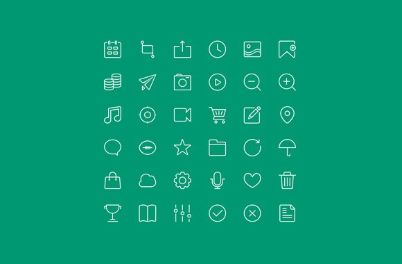 36 Free Outline Icons PSD