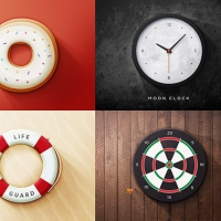 6 Realistic Round Icons PSD
