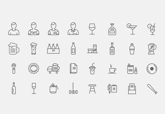 32 Bar Icons free PSD