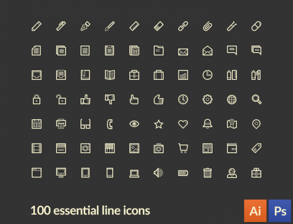 LineArt – 100 Essential Line Icons