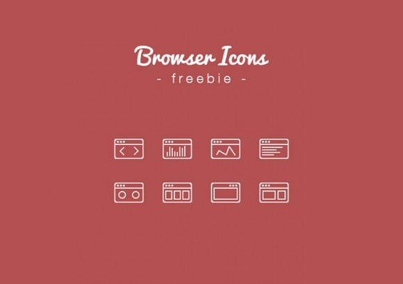 8 Outline Browser Icons PSD