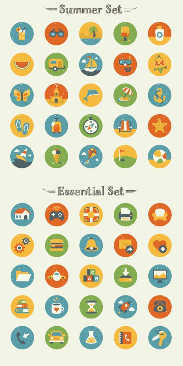 50 Vintage Flat Icon Set