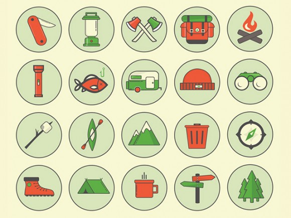 Camping Outdoor Icons – PSD
