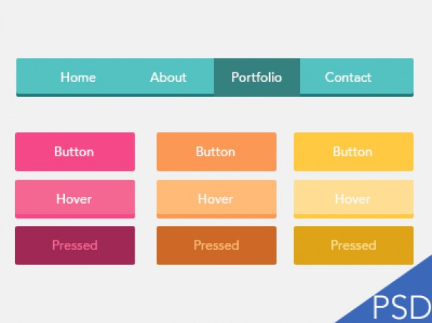 Colorful Flat Ui Buttons PSD