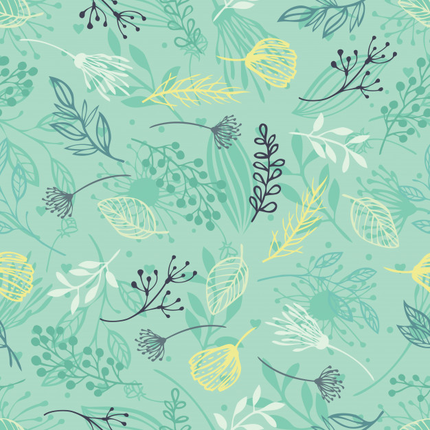 Forest Herbs, Blue Background