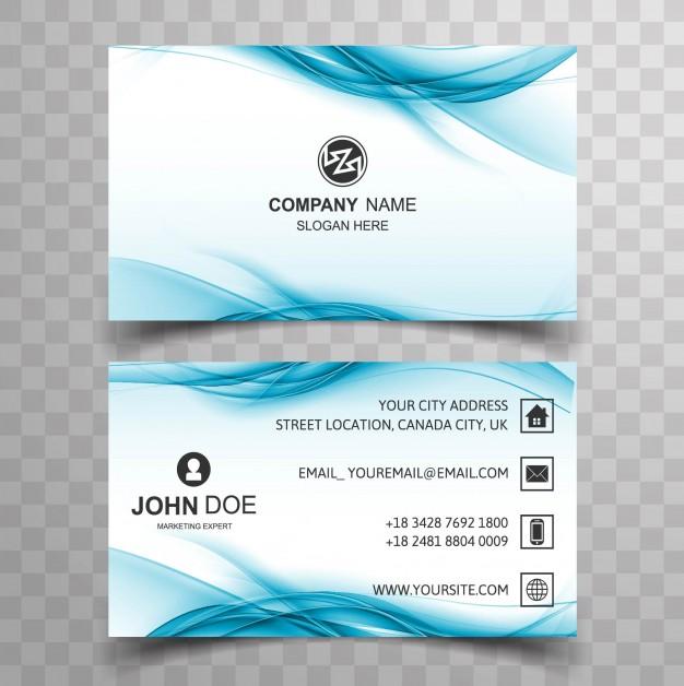 Blue Wavy Business Card
