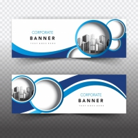 Blue And White Business Banner