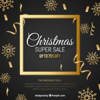 Christmas Sale Background In Retro Style