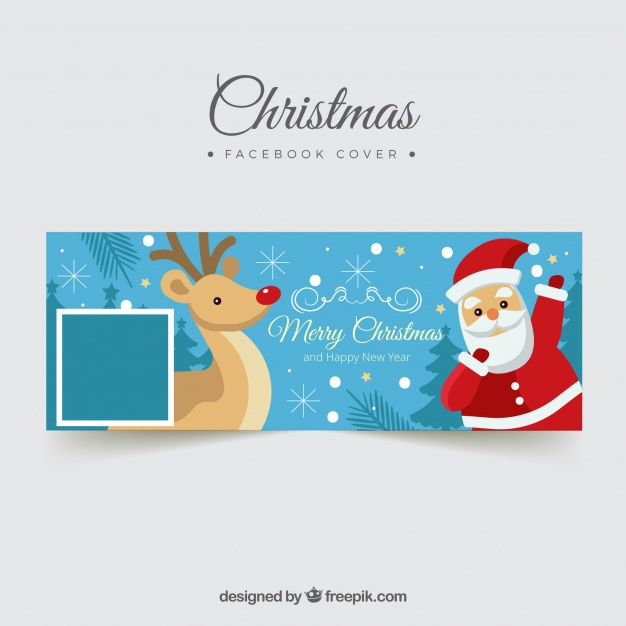 Facebook Cover With Santa Claus And A Reindeer