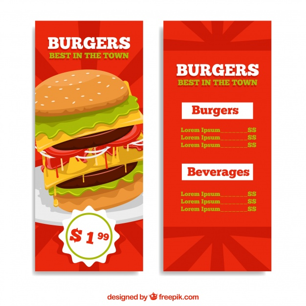 Burger Menu With Offer