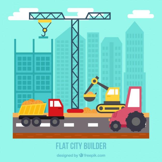 Flat City Builder With Crane