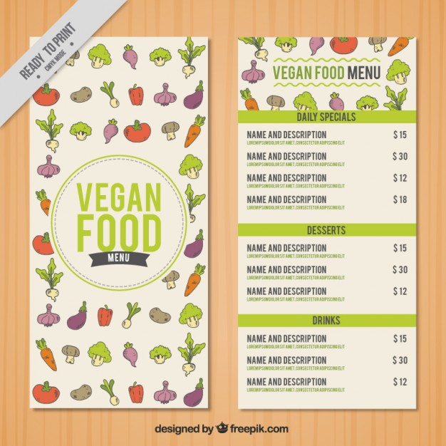 Hand Drawn Little Vegetables Menu Template