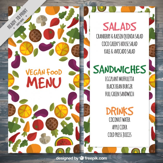 Colored Vegetables Cute Vegan Food Menu