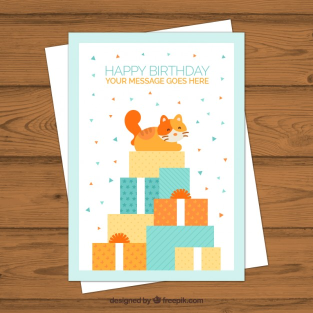 Cute Cat With Gifts Birthday Card