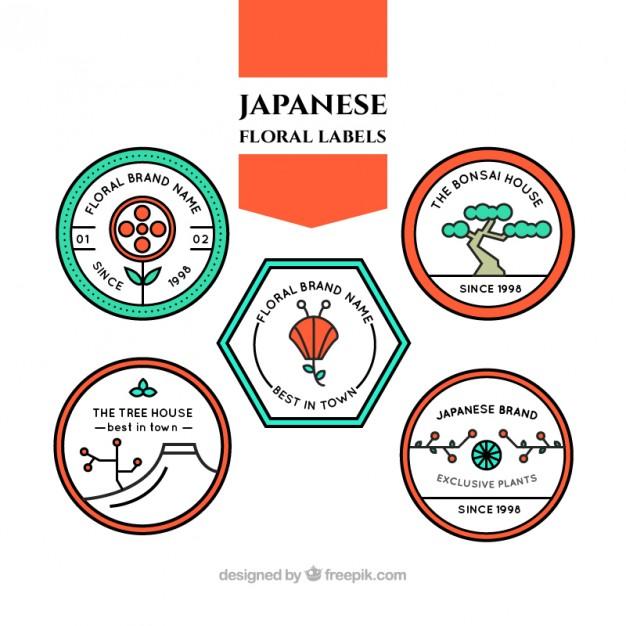 Japanese Floral Labels