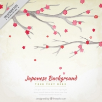Watercolor Branches With Japanese Flowers Background