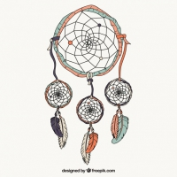 Hand Drawn Dreamcatcher In Colors