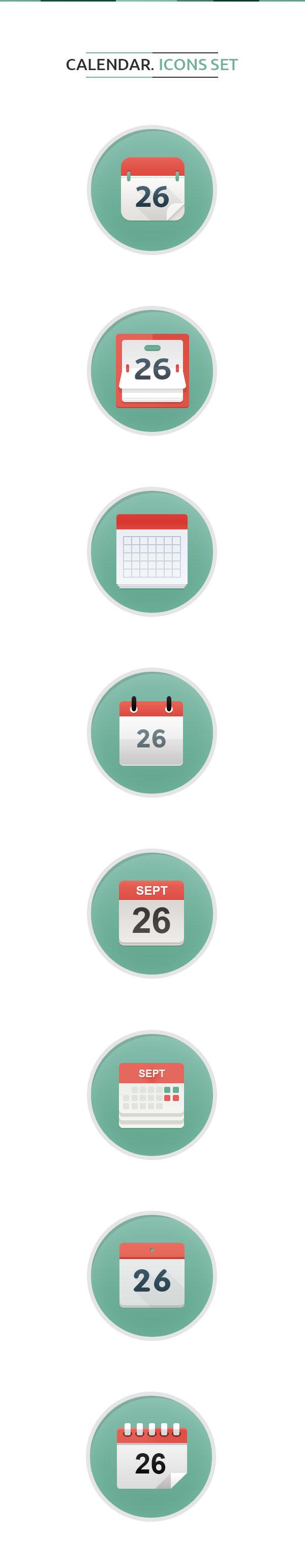 Calendar Icons Set Free Psd
