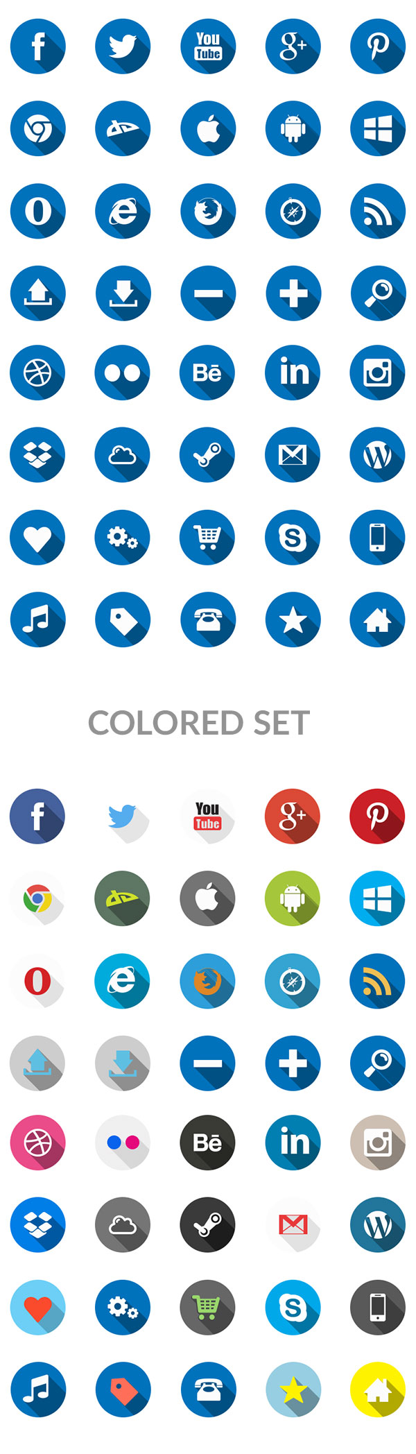 Free PSD Set Of 40 Flat Long Shadow Icons