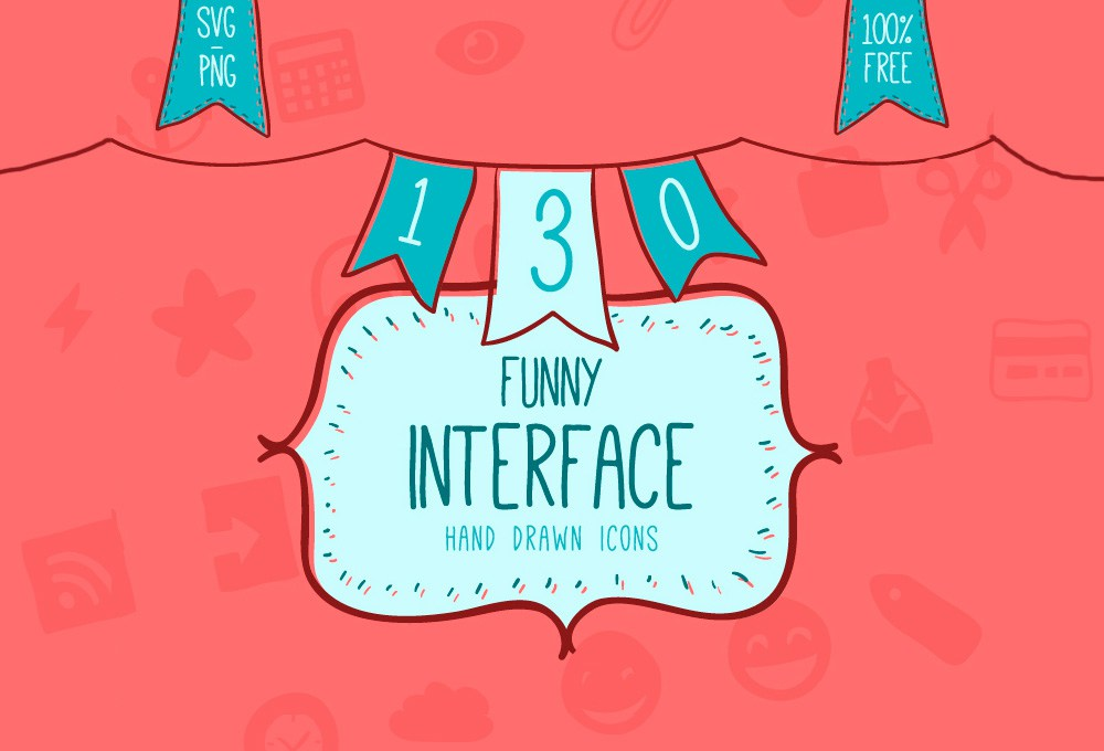 130 Free Hand-drawn Interface Icons