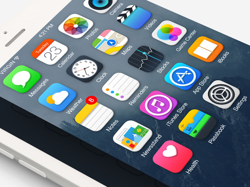 iOS 8 Icons PSD
