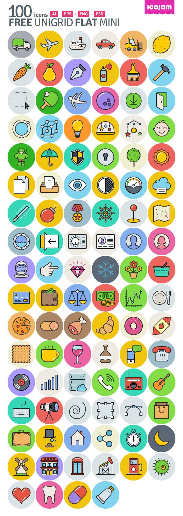 100 free Unigrid Flat Vector Icons