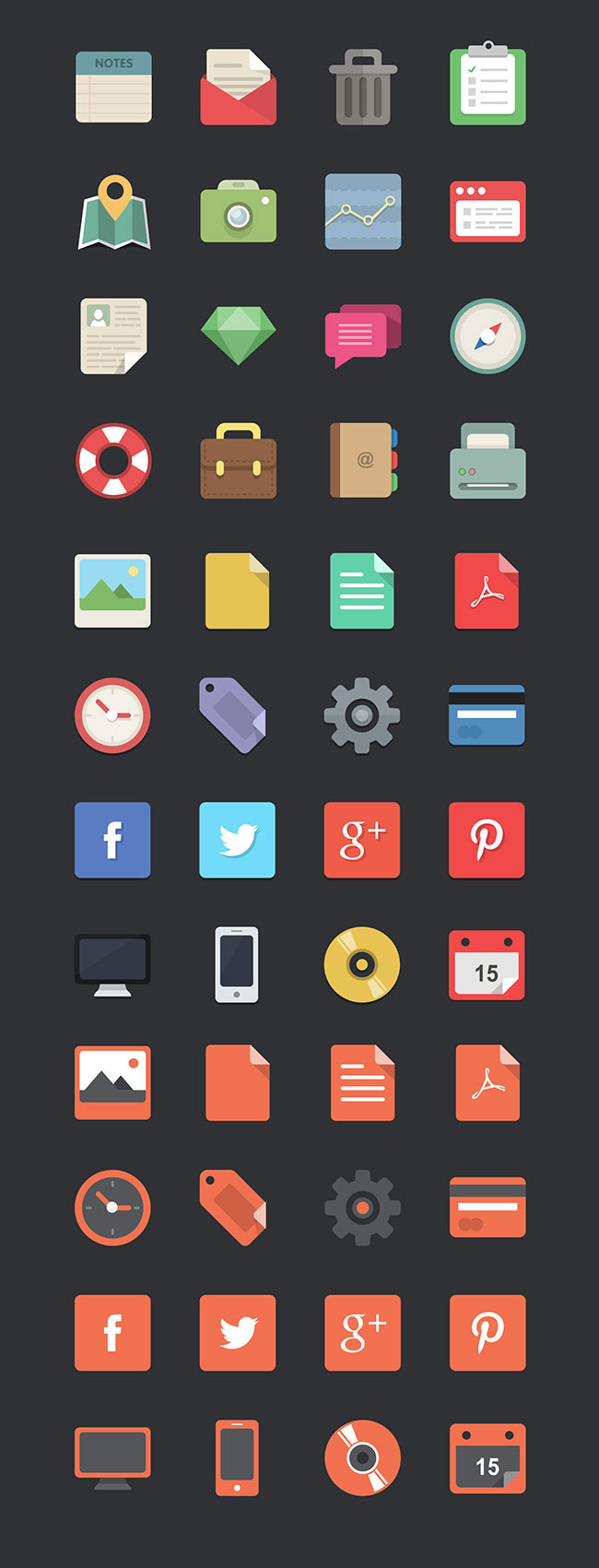 48 Flat Design Icons Set