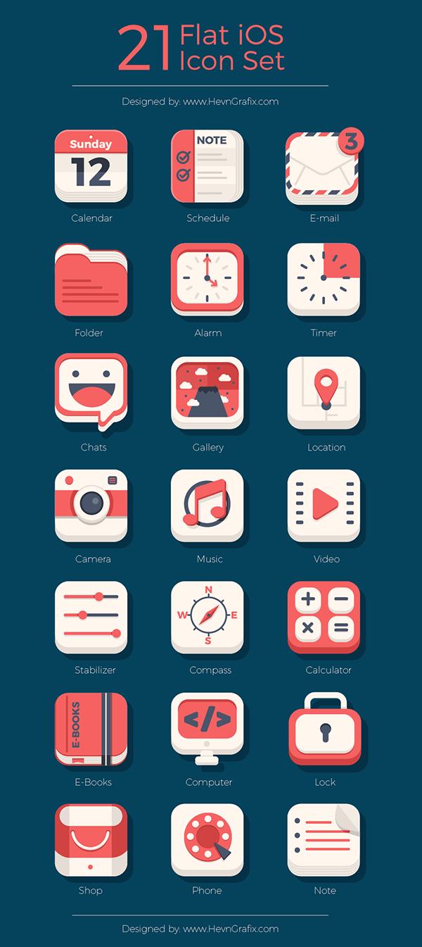 21 Flat iOs Icon Set