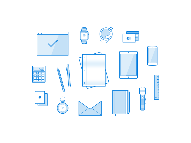 Minimal Office Illustrations Sketch Freebie