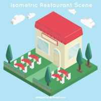 Isometric Restaurant With Grass And Trees