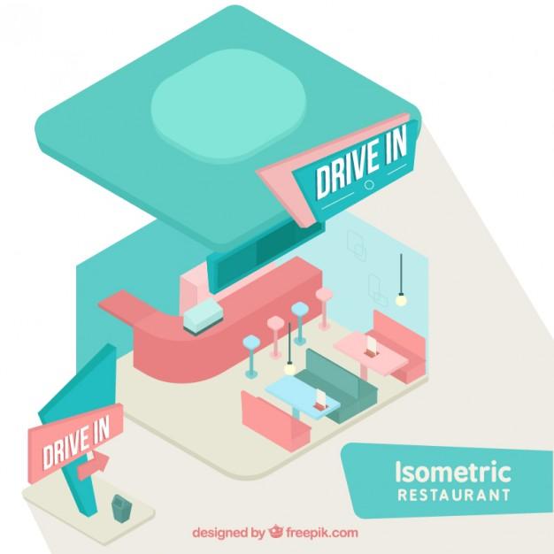 Isometric Vintage Restaurant In Pastel Colors
