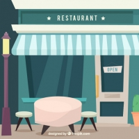 Restaurant Facade With Table In Flat Design