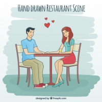 Hand Drawn Love Scene In A Restaurant