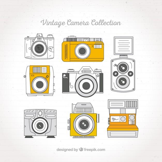 Sketches Retro Cameras Set