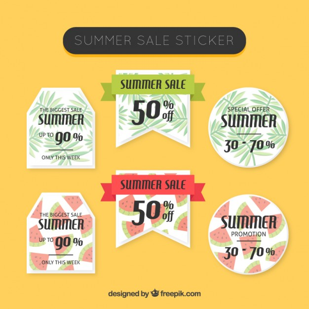 Summer Sale Stickers Set